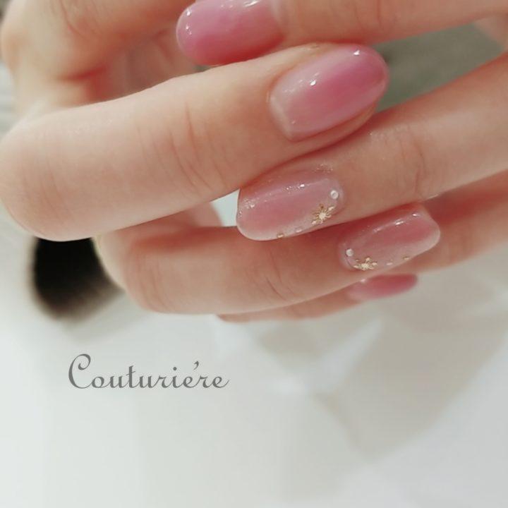 春ピンクグラデーションネイル×雪の結晶ネイルデザインの画像